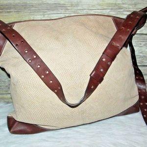 Banana Republic Beige Brown Leather Crossbody Bag